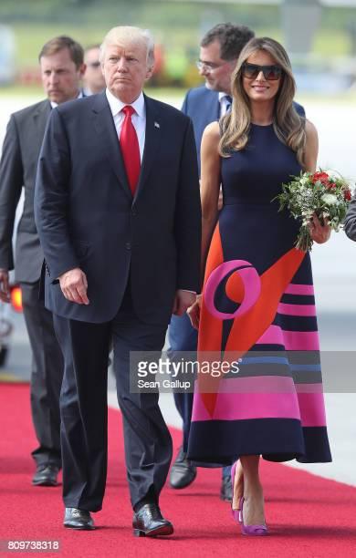 S President Donald Trump and First Lady Melania Trump arrive at Hamburg Airport for the Hamburg G20 economic summit on July 6 2017 in Hamburg Germany...