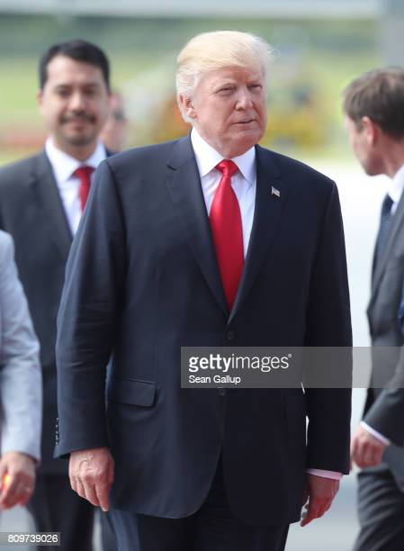 S President Donald Trump and First Lady Melania Trump arrive at Hamburg Airport for the Hamburg G20 economic summit on July 6 2017 in Hamburg Germany...
