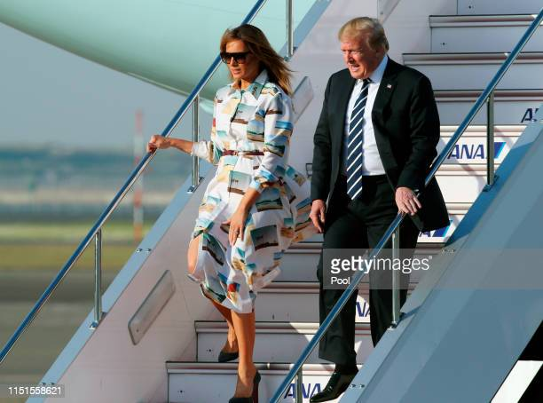 S President Donald Trump and First Lady Melania Trump arrive at Haneda International Airport on May 25 2019 in Tokyo Japan US President Donald Trump...