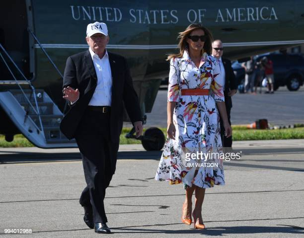 US President Donald Trump and First Lady Melania Trump arrive at Morristown Municipal Airport in Morristown New Jersey July 8 2018 prior to boarding...