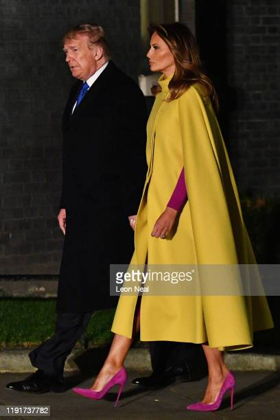 President Donald Trump and First Lady Melania Trump arrive at number 10 Downing Street for a reception on December 3, 2019 in London, England. France...