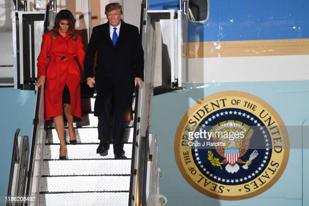S President Donald Trump and First lady Melania Trump arrive at Stansted Airport on December 2 2019 in Stansted Essex President Trump is attending...