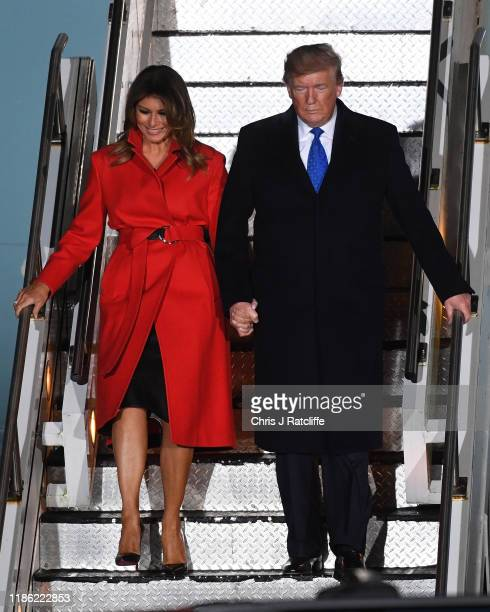 President Donald Trump and First lady Melania Trump arrive at Stansted Airport on December 2, 2019 in Stansted, Essex. President Trump is attending...