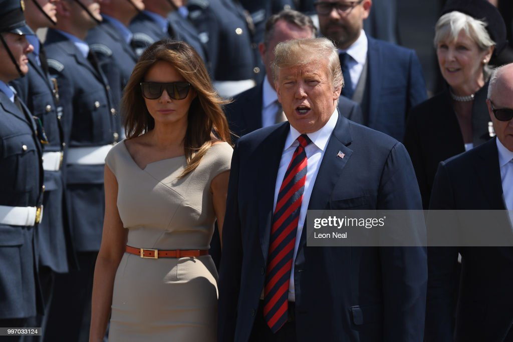 U.S. President Donald Trump and First Lady Melania Trump arrive at Stansted Airport on July 12, 2018 in Essex, England. The President of the United States and First Lady, Melania Trump, touched down in the UK on Air Force One for their first official visit. Whilst they are here they will have dinner at Blenheim Palace, visit Prime Minister Theresa May at Chequers and take tea with the Queen at Windsor Castle.