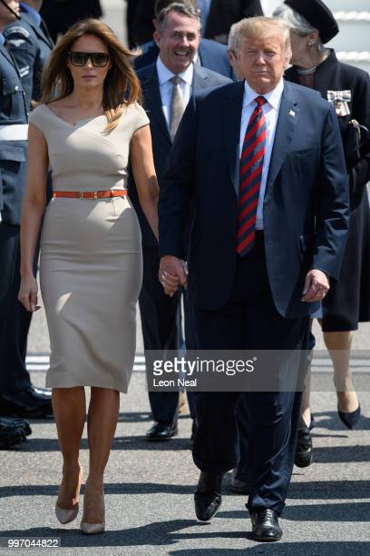 S President Donald Trump and First Lady Melania Trump arrive at Stansted Airport on July 12 2018 in Essex England The President of the United States...