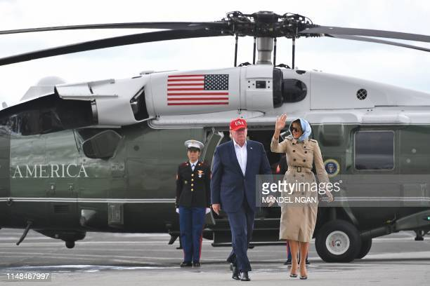 US President Donald Trump and First Lady Melania Trump arrive at Shannon Airport to board Air Force One in County Clare Ireland on June 7 for their...