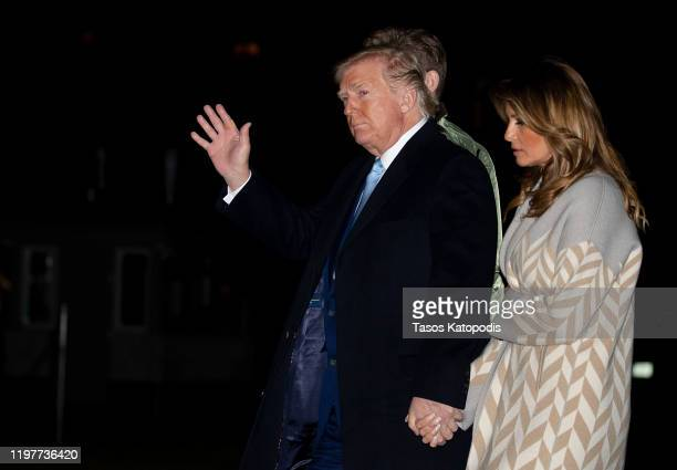 S President Donald Trump and first lady Melania Trump arrive at the White House on January 05 2020 in Washington DC The Trumps were returning from...