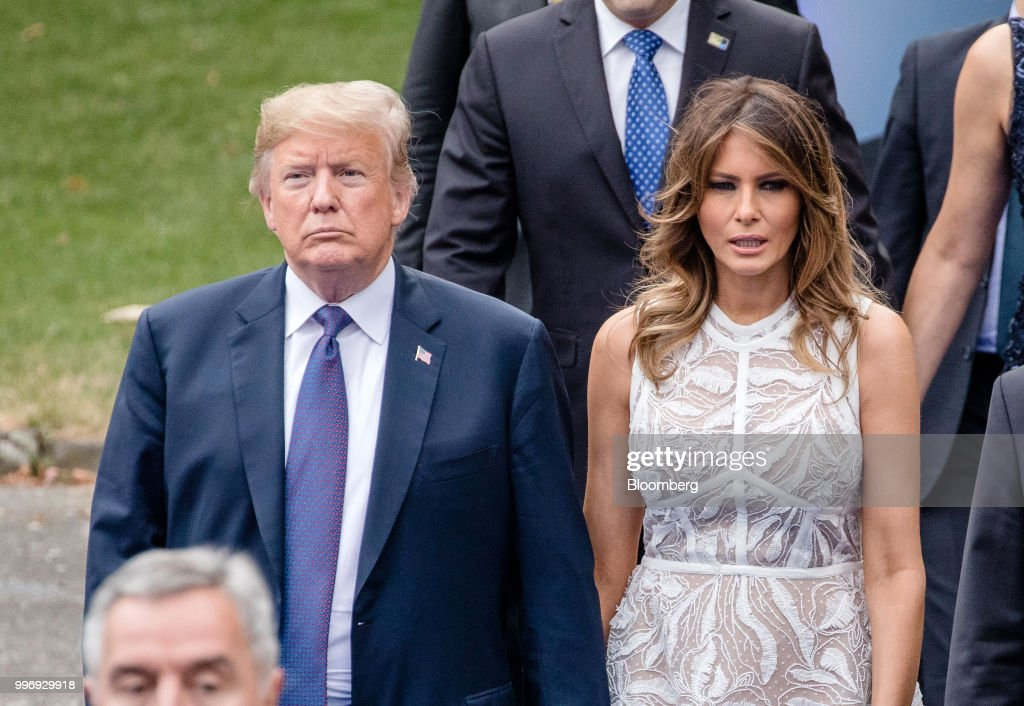 U.S. President Donald Trump and First Lady Melania Trump arrive for a working dinner during the North Atlantic Treaty Organization (NATO) summit at the museum of art and history in Cinquantenaire park in Brussels, Belgium, on Wednesday, July 11, 2018. Trumpis on the offensive as leaders gathered at a two-day North Atlantic Treaty Organization summit. The U.S. president has questioned the value of the generations-old alliance and has linked spending for defense with trade. Photographer: Marlene Awaad/Bloomberg via Getty Images