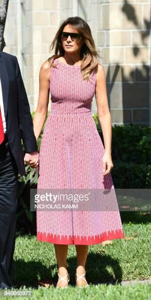 US President Donald Trump and First Lady Melania Trump arrive for Easter service at the Church of BethesdabytheSea in Palm Beach Florida April 1 2018...