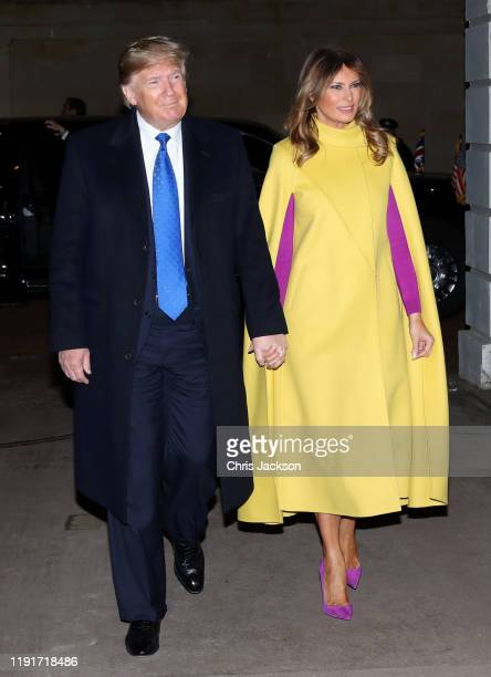 President Donald Trump and First lady Melania Trump arrive for Tea hosted by Prince Charles, Prince of Wales and Camilla, Duchess of Cornwall at...