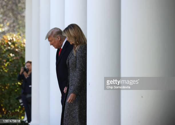 President Donald Trump and first lady Melania Trump arrive in the Rose Garden to give the National Thanksgiving Turkey Corn a presidential pardon...