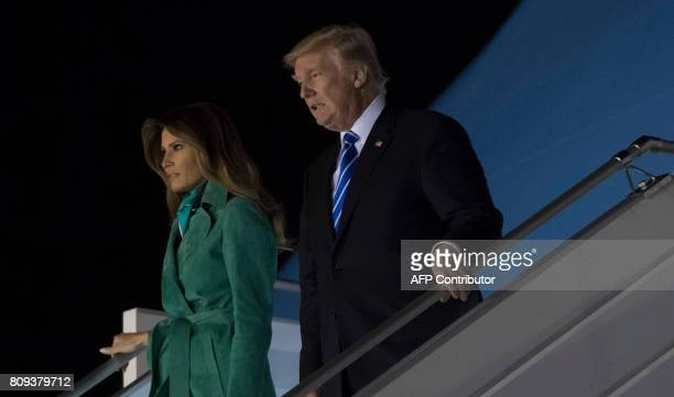 US President Donald Trump and First Lady Melania Trump arrive on Air Force One at Warsaw Chopin Airport in Warsaw Poland July 5 as they begin a 4day...