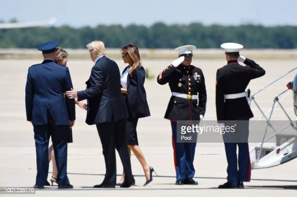 US President Donald Trump and First Lady Melania Trump arrive to pay their respects to the family of fallen United States Secret Service Special...