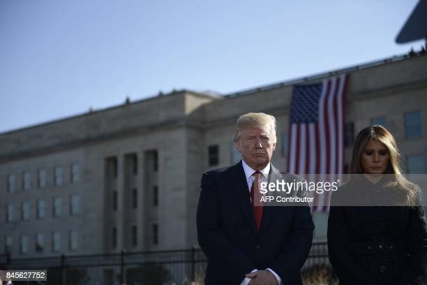 US President Donald Trump and First Lady Melania Trump attend a ceremony at the Pentagon's 9/11 Memorial in Washington DC on September 11 during the...