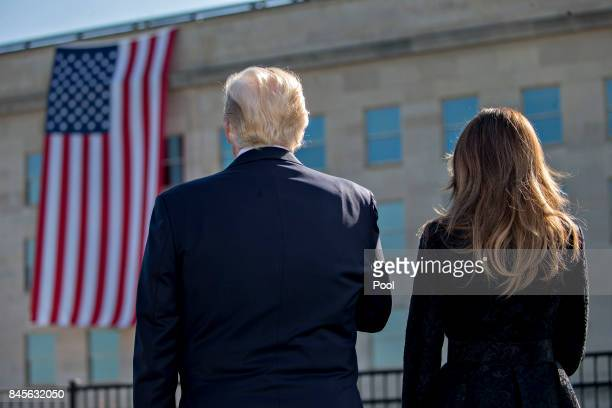S President Donald Trump and first lady Melania Trump attend a ceremony to commemorate the September 11 2001 terrorist attacks at the Pentagon...