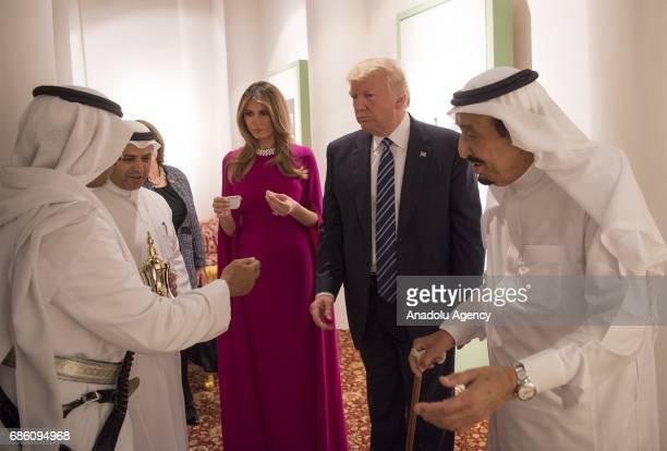 US President Donald Trump and First Lady Melania Trump attend a dinner given in honour of Trump by Saudi Arabia's King Salman bin Abdulaziz Al Saud...