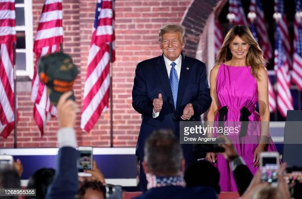 President Donald Trump and first lady Melania Trump attend Mike Pence's acceptance speech for the vice presidential nomination during the Republican...