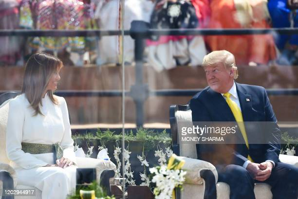 US President Donald Trump and First Lady Melania Trump attend 'Namaste Trump' rally at Sardar Patel Stadium in Motera on the outskirts of Ahmedabad...