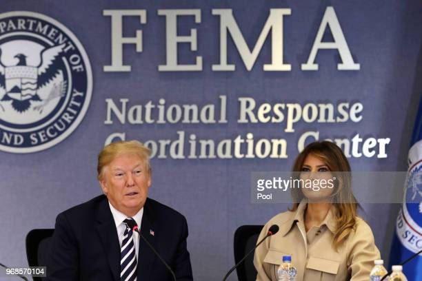 President Donald Trump and First Lady Melania Trump attend the 2018 Hurricane Briefing at the Federal Emergency Management Agency Headquarters on...