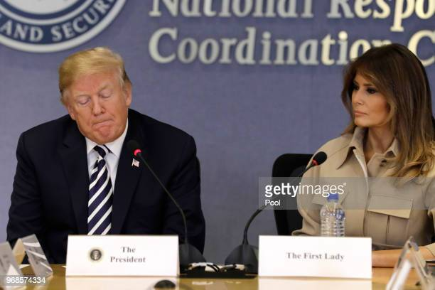 US President Donald Trump and First Lady Melania Trump attend the 2018 Hurricane Briefing at the Federal Emergency Management Agency Headquarters on...