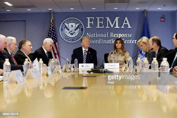 President Donald Trump and First Lady Melania Trump attend the 2018 Hurricane Briefing at the FEMA headquarters on June 6, 2018 in Washington, DC.
