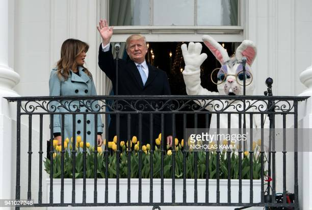 President Donald Trump and First Lady Melania Trump attend the annual Easter Egg Roll at the White House in Washington DC on April 2 2018