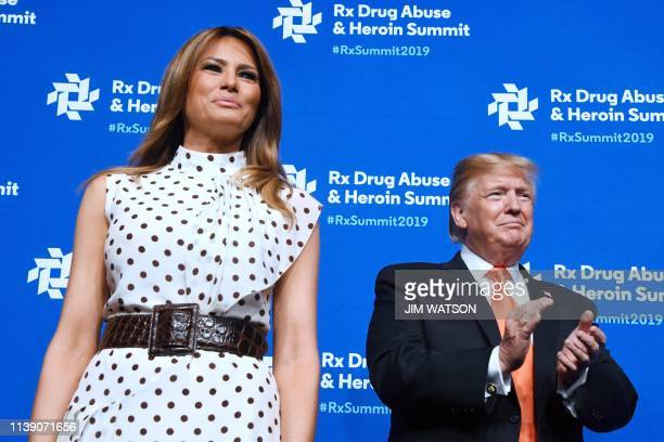 US President Donald Trump and First Lady Melania Trump attend the Rx Drug Abuse and Heroin Summit in Atlanta GA on April 24 2019