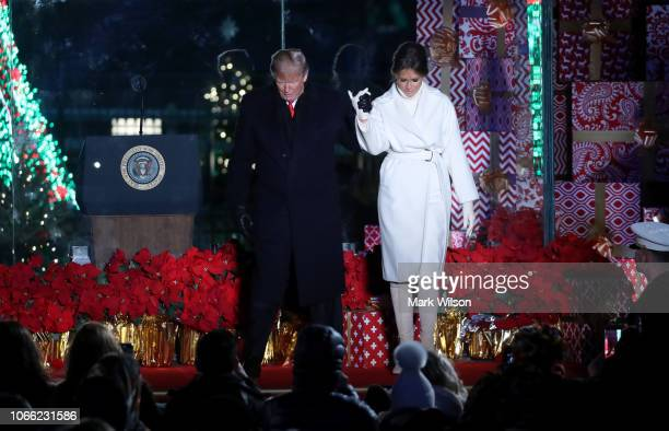 S President Donald Trump and first lady Melania Trump attend the National Christmas Tree lighting ceremony held by the National Park Service at the...