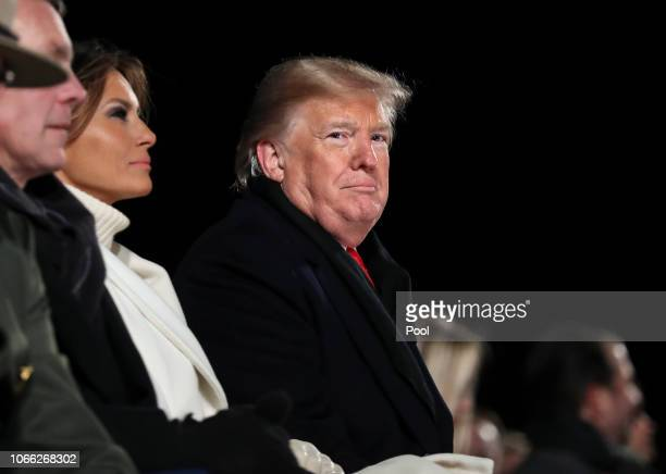 President Donald Trump and first lady Melania Trump attend the National Christmas Tree lighting ceremony held by the National Park Service at the...