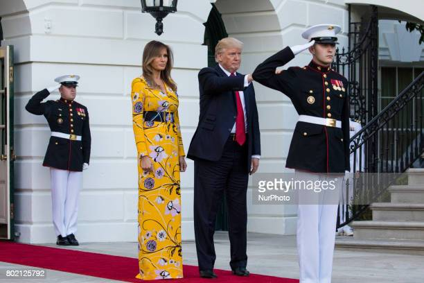 President Donald Trump and First Lady Melania Trump bid goodbye to Prime Minister Narendra Modi of India as he left the South Portico of the White...