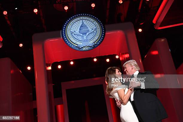 President Donald Trump and First Lady Melania Trump dance at the Liberty Ball on January 20 2017 in Washington DC Trump will attend a series of balls...