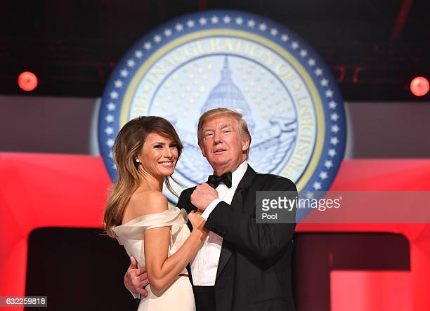President Donald Trump and First Lady Melania Trump dance at the Freedom Ball on January 20 2017 in Washington DC Trump will attend a series of balls...