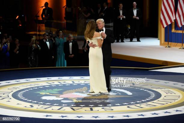 President Donald Trump and First Lady Melania Trump dance during the Armed Forces ball at the National Building Museum on January 20, 2017 in...