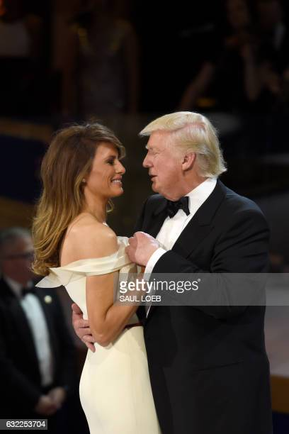 President Donald Trump and First Lady Melania Trump dance during the Salute to Our Armed Services Inaugural Ball at the National Building Museum in...