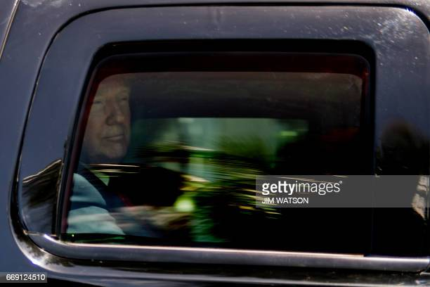 US President Donald Trump and First Lady Melania Trump depart Easter service at the Church of BethesdabytheSea in Palm Beach Florida April 16 2017 /...