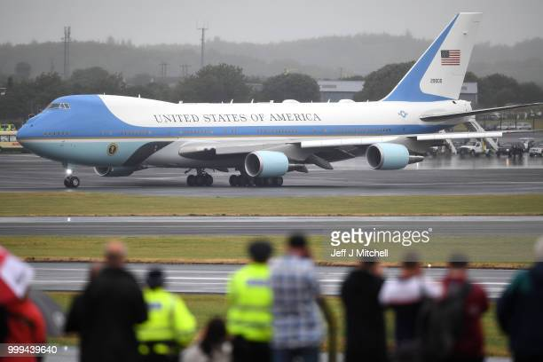 S President Donald Trump and First Lady Melania Trump depart from Glasgow Prestwick Airport aboard Air Force One following the US President's first...