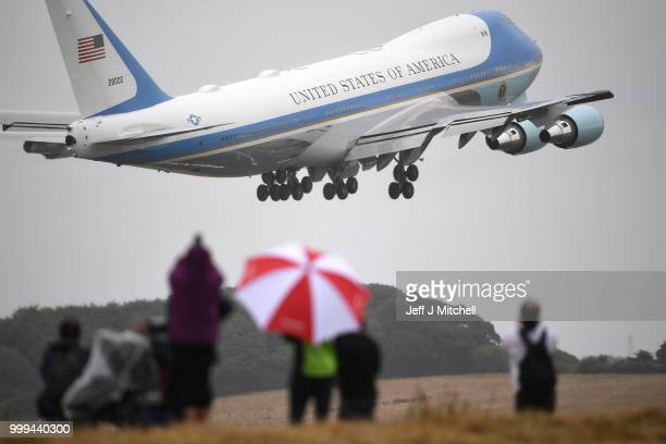 President, Donald Trump and First Lady, Melania Trump depart from Glasgow Prestwick Airport aboard Air Force One, following the U.S. President's...