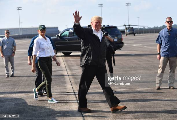 US President Donald Trump and First Lady Melania Trump depart Lake Charles Louisiana after touring affected areas of Hurricane Harvey and visting...
