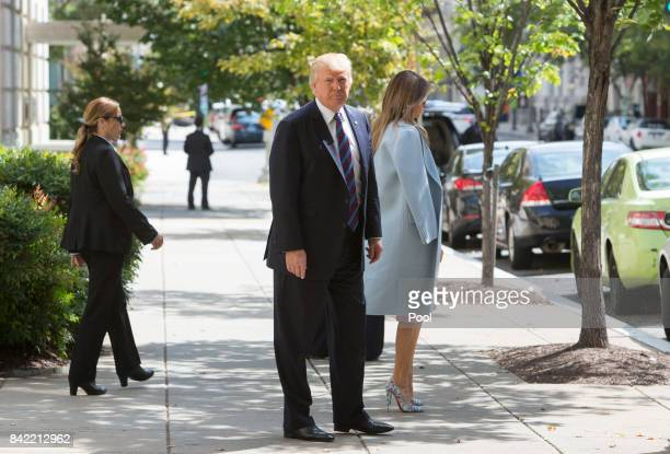 US President Donald Trump and First Lady Melania Trump depart St John's Church on September 3 2017 in Washington DC Earlier this week Trump signed a...