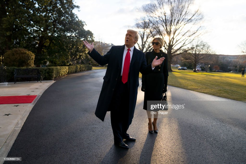 President Trump Departs White House For Final Time In His Presidency : News Photo