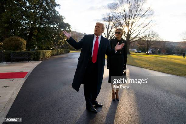 President Donald Trump and first lady Melania Trump depart the White House on January 20, 2021 in Washington, DC. Trump is making his scheduled...
