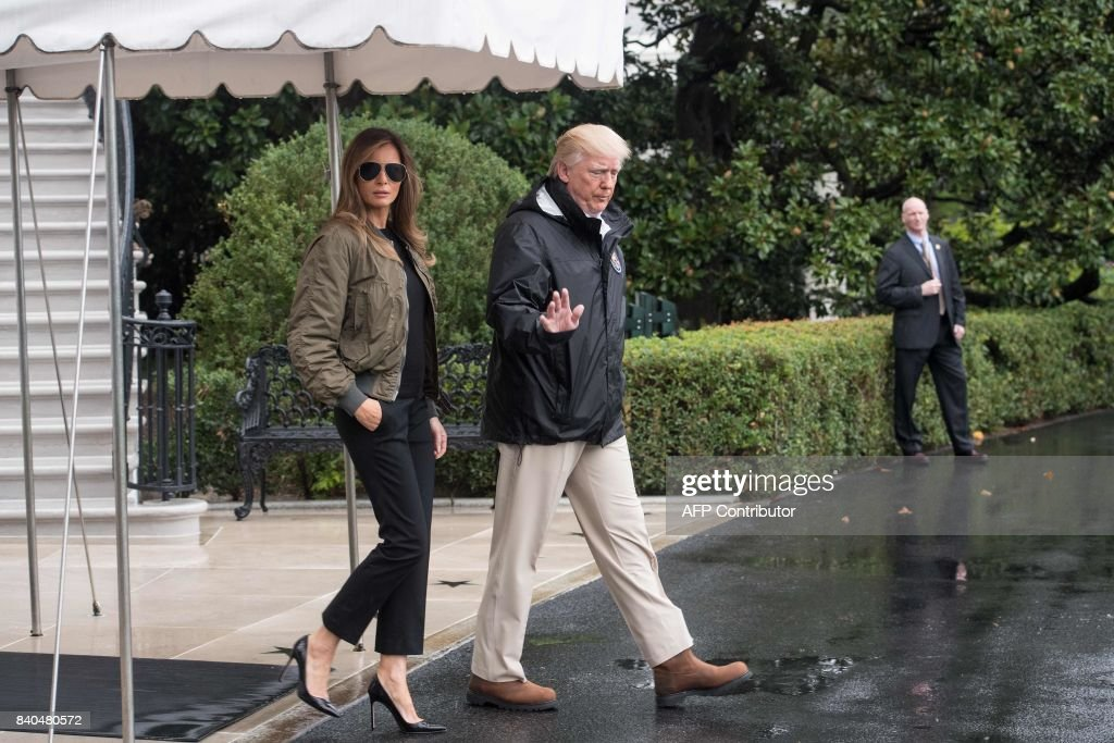 US President Donald Trump and First Lady Melania Trump depart the White House in Washington, DC, on August 29, 2017 for Texas to view the damage caused by Hurricane Harvey. /