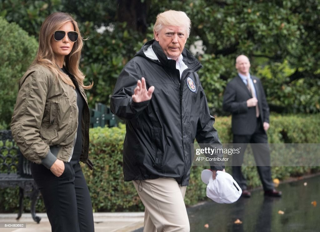 President Donald Trump and First Lady Melania Trump depart the White House in Washington, DC, on August 29, 2017 for Texas to view the damage caused by Hurricane Harvey. /