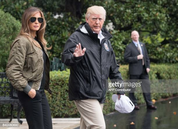 President Donald Trump and First Lady Melania Trump depart the White House in Washington DC on August 29 2017 for Texas to view the damage caused by...