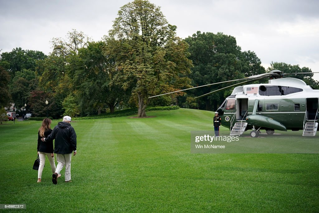 U.S. President Donald Trump and first lady Melania Trump depart the White House September 14, 2017 in Washington, DC. Trump is scheduled to visit Florida today to view relief efforts in the wake of Hurricane Irma. Trump also spoke on reports from a meeting with Democratic leaders last night about a proposed deal on DACA and potentially delaying negotiations on his efforts to build a wall on the U.S. border with Mexico.