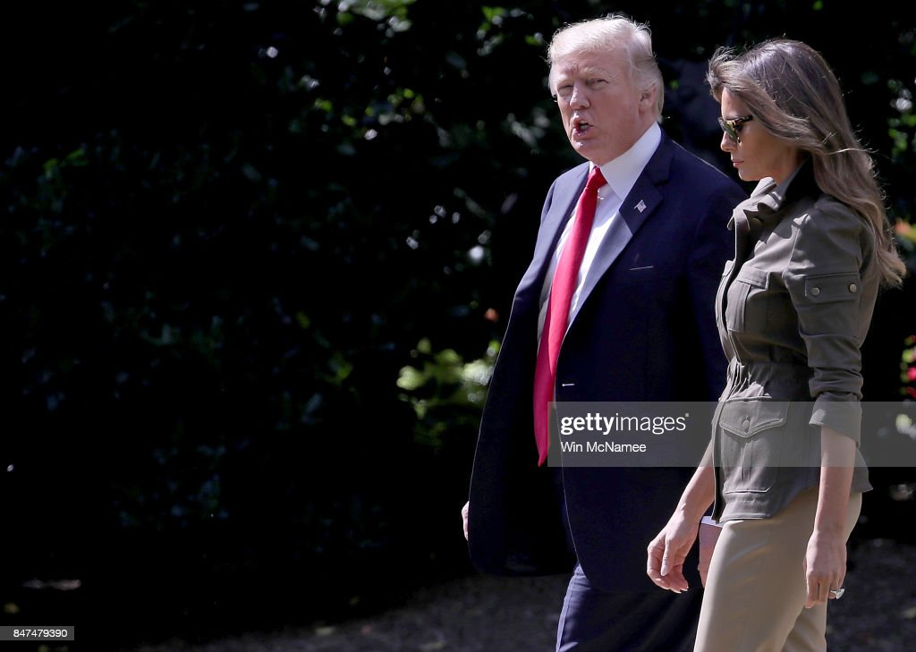 U.S. President Donald Trump and first lady Melania Trump depart the White House on September 15, 2017 in Washington, DC. Trump is scheduled to spend the weekend in New Jersey and next week in New York City attending the United Nations General Assembly.