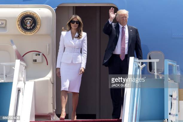 President Donald Trump and First Lady Melania Trump disembark Air Force One upon their arrival at Ben Gurion International Airport in Tel Aviv on May...