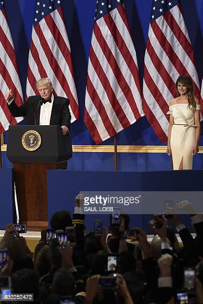 President Donald Trump and First Lady Melania Trump during the Salute to Our Armed Services Inaugural Ball at the National Building Museum in...