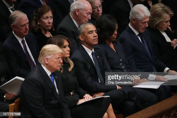 President Donald Trump and first lady Melania Trump former President Barack Obama Michelle Obama former President Bill Clinton Hillary Clinton former...
