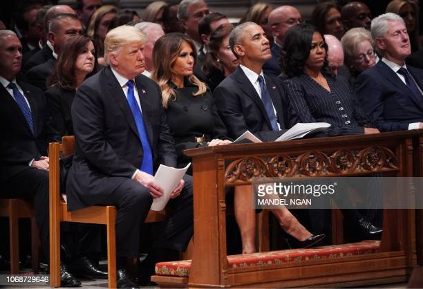 US President Donald Trump and First Lady Melania Trump former US President Barack Obama former US First Lady Michelle Obama and former US President...